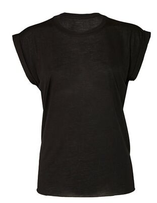 Bella - Women`s Flowy Muscle Tee with Rolled Cuff