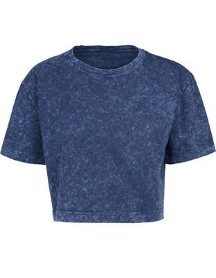 Build Your Brand - Ladies` Acid Washed Cropped Tee